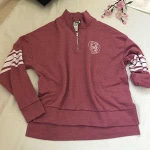 VS PINK soft begonia quarter zip pullover size S
